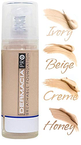 Dermacia PRO Breathable Foundation (Creme), Dr. Recommended, Hypoallergenic, Long Lasting, Lightweight, Professional Oxygenating Makeup, Best for Sensitive Skin, Acne & Rosacea, Made in USA