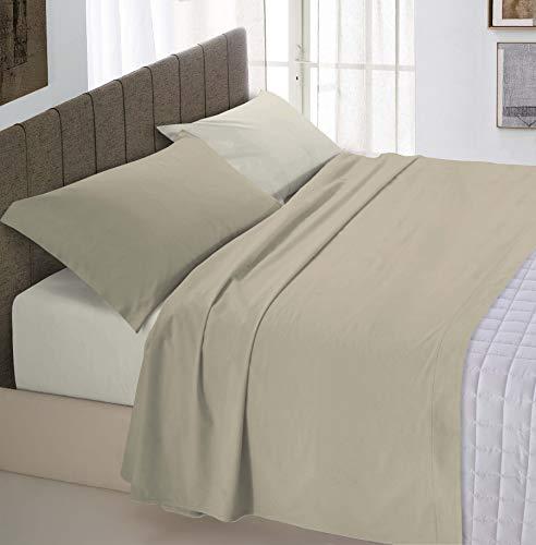 Italian Bed Linen Natural Color Completo Letto Doppia Faccia, 100% Cotone, Tortora/Panna, Matrimoniale, 4 Unità