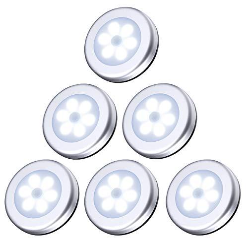 AMIR Nachtlicht mit Bewegungsmelder, 6 LED Bewegungsmelder Licht, Auto EIN/AUS Led Beleuchtung Sensor, Weiß Licht, Batteriebetrieben Schranklicht, Schrankleuchten für Flur, Schlafzimmer (6er- Silber)
