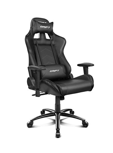 Drift DR150B - Silla Gaming Profesional, polipiel, reposabrazos ajustable, piston clase 4, asiento basculable, altura regulable, respaldo reclinable, cojines lumbar y cervical, color negro