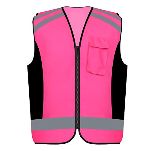 Safety Vest Reflective stripes Women outdoor utility Safety Hi-vis knitted Vest Bright Construction Vest for girl and women.PINK Meets ANSI/ISEA Standards (2XL)