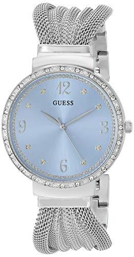 GUESS - Reloj de pulsera de malla de acero inoxidable con esfera azul cielo, color plateado (modelo: U1083L4)
