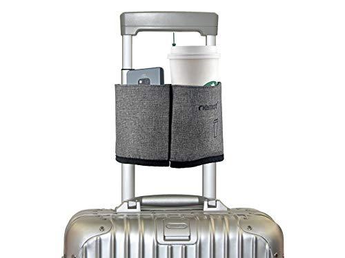 riemot Koffer Getränkehalter für Kaffee Trinkbecher Falten Flaschenhalter Zusatztasche Grau