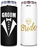 Bride And Groom Slim Can Sleeves, Wedding Gifts For Couples Engagement Gifts For Bride And Groom, Skinny Can Cooler for 12oz Tall Insulated Cans like White Claw, Truly, Slim Beer, Spiked Seltzer