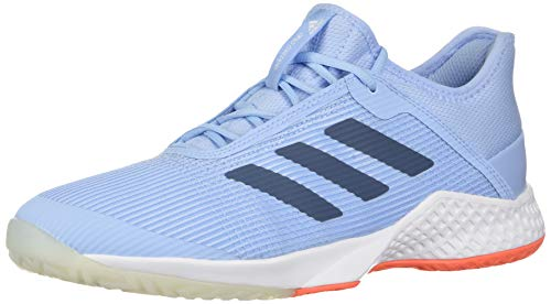 adidas Women's Adizero Club Tennis Shoe, Glow Blue/tech Ink/hi-res Coral, 11.5 M US