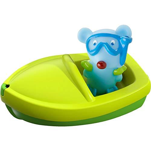 HABA 303865 - Badeboot Maus ahoi!, Badewannenspielzeug mit Fingerpuppe, Badespielzeug ab 18 Monaten