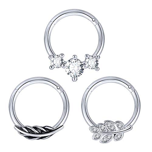 3 Pieces 16G Nose Rings CZ Tragus Piercing Stainless Steel Cartilage Rings Tree Leaf Nose Piercing for Men and Women