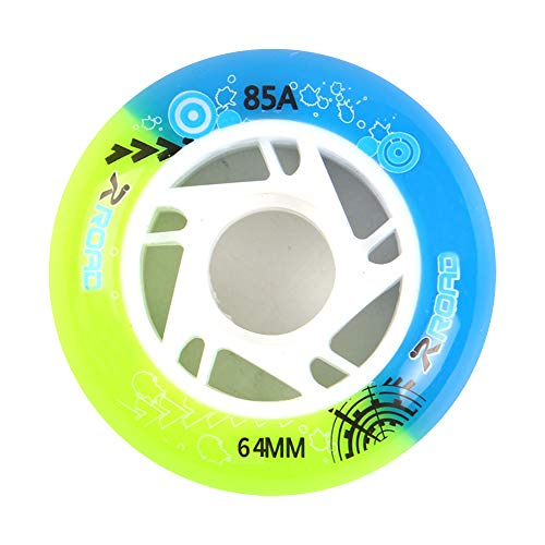 TGHY 8 Stück Inline Skates Rollen für Kinder 62mm 64mm 68mm 70mm 72mm 85A PU-Ersatzrader für Jungen und Mädchen,Blue & Green,62mm