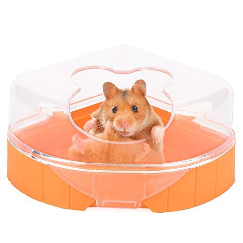 HEEPDD Hamster Badezimmer Toilette,Dreicek Einzelport Kunststoff Badewanne Toliette, für alle kleine Haustier Hamster Eichhörnchen (zufällig Farbe)
