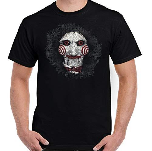 DIANNAO Saw T-Shirt, Mens Jigsaw Mask Halloween Horror Movie Top Scary Black S