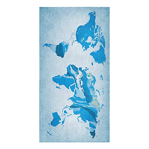 Chic Decor Home Kitchen Towels World Map Tea Towel Microfiber Absorbent Washable Travel Around The World Blue Soft Hand Dish Towel Cleaning Cloth for Kitchen Bathroom,18 x 28 Inch