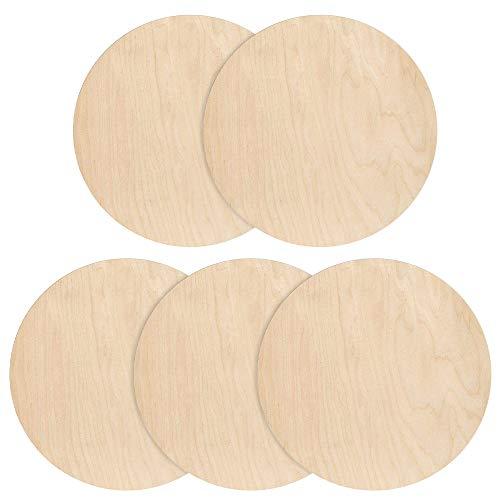 MOPOIN Holzplatte Rund, 5 Stück Holzscheibe, Runde Holzscheiben 25cm Durchmesser, Holzplatten Deko Holz Kreise zum Basteln, Aufhängen, als Deko, Anhänger, TüR Schilder, Plaketten