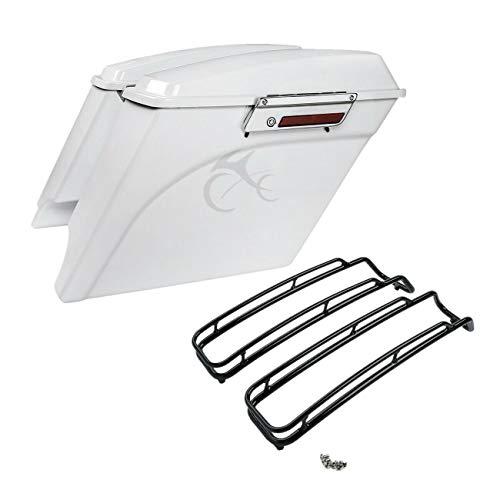 TCMT 5' White Extended Saddlebags Lid Top Rail Fit For Harley Touring Road King 94-13