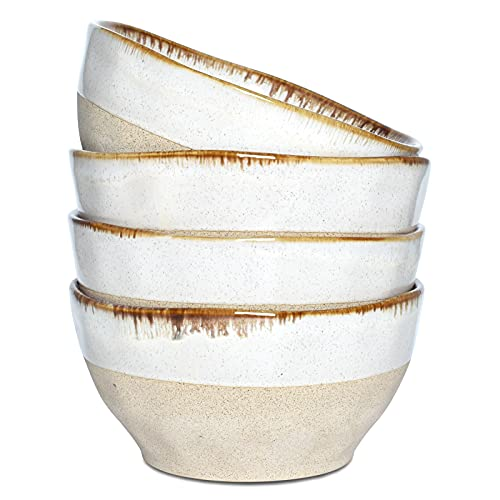 Bosmarlin Ceramic Soup Bowl Set of 4, 28 Oz, Cereal Bowl for Oatmeal, Dishwasher and Microwave Safe (Beige, 6 inches)
