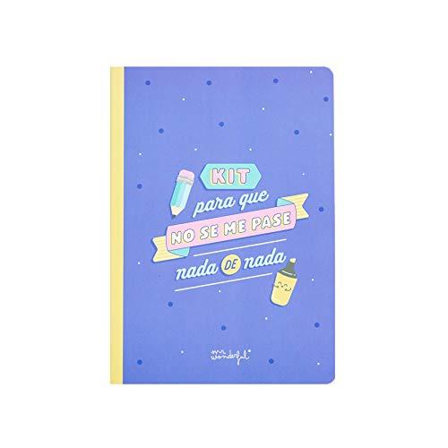 Mr Wonderful - Libreta de Pegatinas y Notas Adhesivas 'Para que No Se Me Pase Nada', 14,8 x 21 x 0,5 cm, Azul