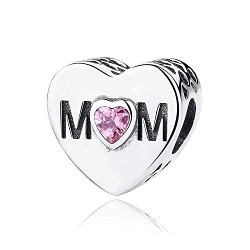"NINGAN""I Love Mother(Le amo a mamá)""AbaloriosCharmsdePiedradeNacimientoCompatibleconEuropeasPulsera,BirthstoneCharmsPlatadeLey925con5ACirconita (Pink Mother Heart)"
