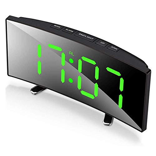 Tuneway Digital-Wecker, 7-Zoll-Curved Dimmbare LED-Schirm-Digital-Uhr für Kinder Schlafzimmer, GrüN Gro?E Zahl Uhr, Leicht Kluger Wecker, Schlummerfunktion, 24.12 Uhr, USB-Anschluss