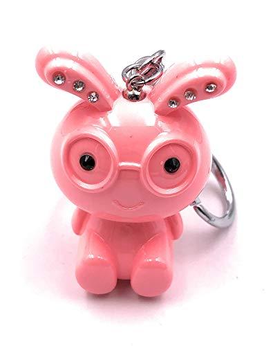 H-Customs Hase süss mit Brille pink rosa Strass Schlüsselanhänger Anhänger