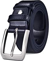 "Beltox Fine Men's Casual Leather Jeans Belts 1 1/2"" Wide 4MM Thick Alloy Prong Buckle Work Dress Belt for Men (Navy Blue, 34-36)"
