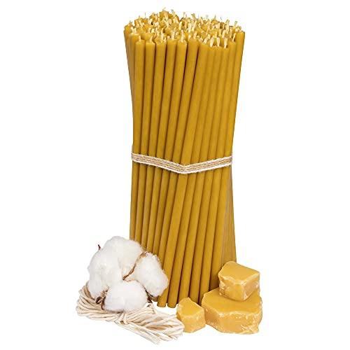 Ritualkerzen - Candele di cera d'api: miele, 100 pezzi, lunghezza 18,5 cm, diametro 6,1 mm, durata 60 min; naturali, antigoccia, senza fumo, chiese sottili, in cera d'api Nr. 80