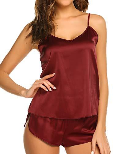 Ekouaer Sleepwear Womens Sexy Lingerie Satin Pajamas Cami Shorts Set Nightwear Dark Red