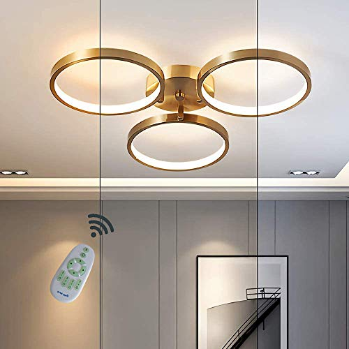Modern 3-Ring LED Deckenleuchte Gold Minimalistisch Runden Deckenlampe Dimmbar mit Fernbedienung Acryl Beleuchtung Aus Hohe Qualität Messing Schlafzimmerleuchte Kinderzimmer Decke Lampe 48W