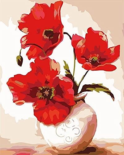 ZXDA Pittura Digitale in Vaso per Pittura a Olio, Fiore di Vernice, Vaso per Decorazioni per la casa Dipinto a Mano, Pittura Digitale, Decorazione per la casa A5 50x65cm
