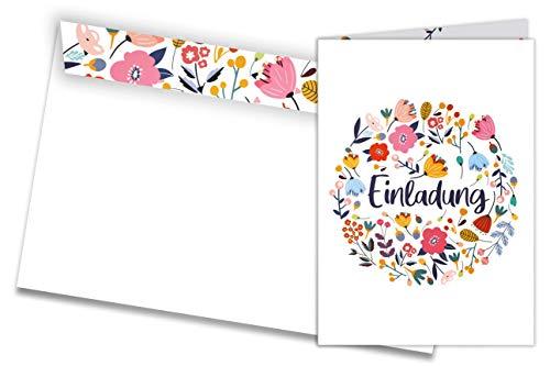 Friendly Fox Einladung Blumen - 12 Einladungskarten zum Geburtstag Taufe Konfi Kommunion Hochzeit - Klappkarten blanko mit Umschlag - florales Design