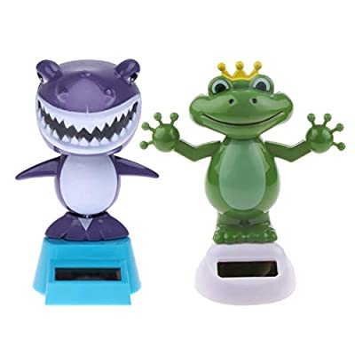 KODORIA 2pcs Solar Powered Dancing Toys Swinging Animated Bobble Head Dancer Toy Car Decor Ornament Frog + Shark