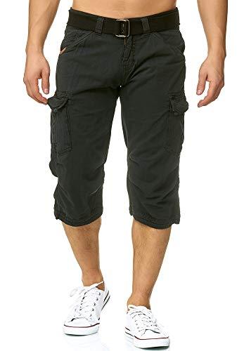 Indicode Herren Nicolas Check 3/4 Cargo Shorts kariert mit 6 Taschen inkl. Gürtel aus 100% Baumwolle | Kurze Hose Sommer Herrenshorts Short Men Pants Cargohose kurz für Männer Black M