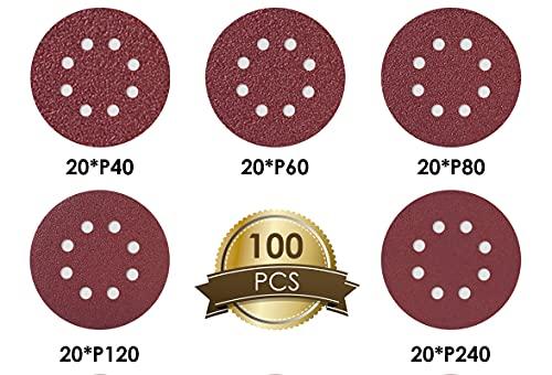 FORTRY 100 Stück Schleifscheiben 125mm Klett Set: je 20x 40/60/80/120/240 Körnung, Schleifpapier 8 Loch rund, Winkelschleifer Schleifblätter Set für Holz, Metall, Farbe, Kunststoff