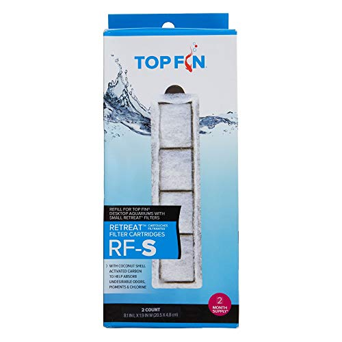 Top Fin Retreat RF-S Filter Cartridges (Small) Refill for Desktop Aquariums with Small Retreat Filters - 8.1in x 1.9in (2 Count)