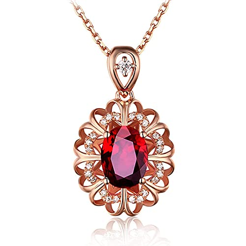 YTGLQAZ Collar Collares De Cadena para Mujeres 14K Color Oro Rosa Flor Cristal Rojo Piedras Preciosas De Rubí Diamantes Collares Pendientes Mujeres Fiesta Regalos De Moda