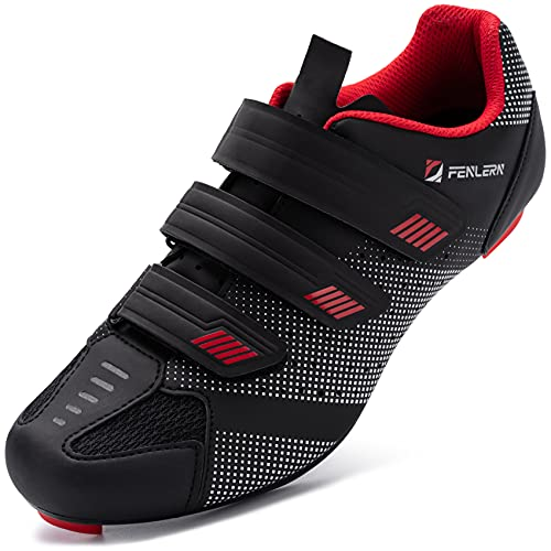 URDAR Zapatillas de Ciclismo Hombre Bicicleta Carretera Calzado de Ciclismo Transpirable Antideslizante Suela de Carbono(Rojo Negro,43 EU)