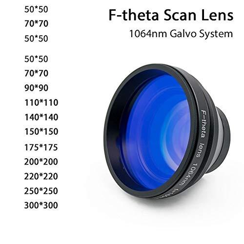 MOUNTAIN MEN F-theta Scan Lens Field Lens 1064nm 50x50-300x300 F63-420mm for 1064 nm YAG Optical Fiber Laser Marking Machine Parts (Size : 50x50 F63)