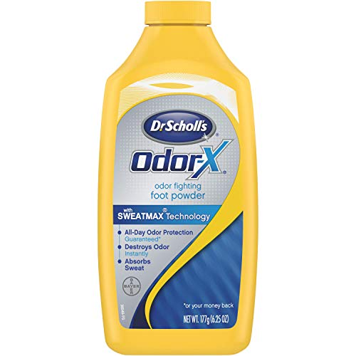 Dr. Scholl's Odor-Fighting Odor-X Foot Powder, 6.25oz (Pack of 3) // All-Day Protection Against Odor and Sweaty Feet with SweatMAX Technology that Destroys Odors Instantly