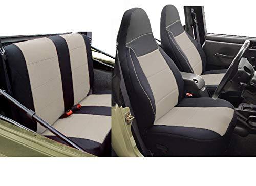 GEARFLAG Custom Fit Neoprene Seat Cover for Wrangler TJ 1997-2002 (Front + Rear Seats) (Safari Khaki)