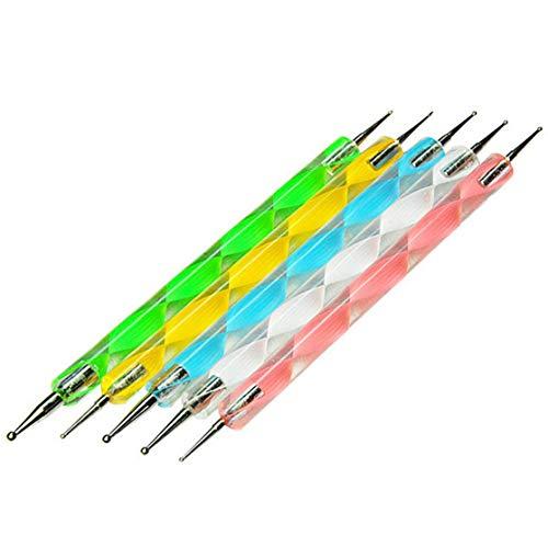 LHHA 5 pc 2 Way Dotting Pen Tool Nail Art Tip Dot Paint Kit de manucure