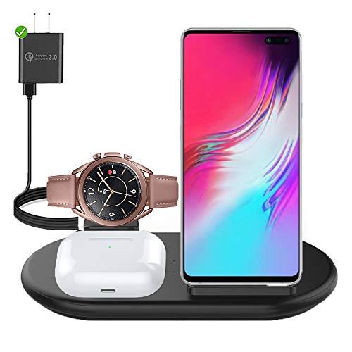 3 in 1 Kabellose Ladestation, 10W Schnelle Kabellose Ladestation für Samsung Galaxy S20 S10 Ladestation Handy-Ladegerät Kompatibel mit Samsung Galaxy Watch 1/3 Active 1/2, Galaxy Buds,iPhone X