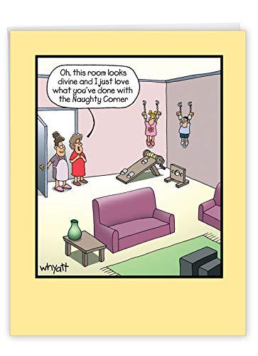 NobleWorks, Big Funny Mother's Day Card (8.5 x 11 Inch) - Jumbo Cartoon Notecard for Moms, Stepmom - Room Looks Divine J0083