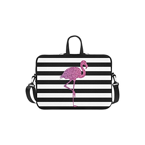 InterestPrint Glitter Flamingo Animal Laptop Sleeve Case Bag, Stripe Flamingo Shoulder Strap Laptop Sleeve Notebook Computer Bag 15-15.6 Inch for Macbook Pro Air Dell HP Lenovo Thinkpad Acer Ultrabook