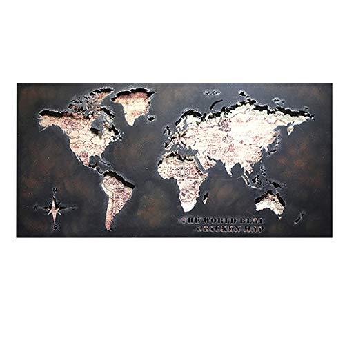 EWADQH Retro LOFT Carte du Monde Creux en Fer forgé décoration Murale en métal