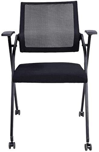 YYZZ Ergonomischer Bürostuhl Klappbarer Computertisch und drehbarer Arbeitsstuhl mit Rädern (schwarz) Stahlfüße Feste Armlehne für