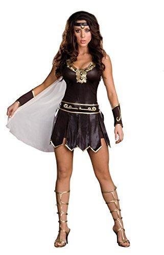 Das Gute Leben Damen Xena Krieger/Kämpfer Römische Göttin Kostüm Kleid Handschuhe und Stirnband Größe 38