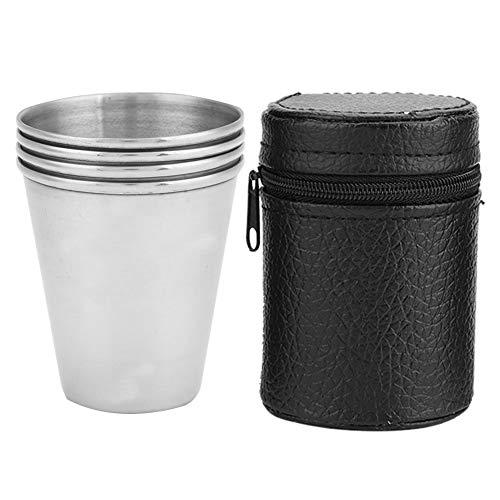 Tazas para exteriores, 4 tazas portátiles de acero inoxidable para viajes de acampada al aire libre((Middle size four packs))