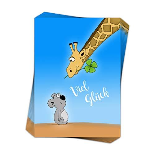 10 Grußkarten VIEL GLÜCK im Format DIN A6 / niedliche Postkarte mit Koala und Giraffe, Glückwunschkarten Glück (10)