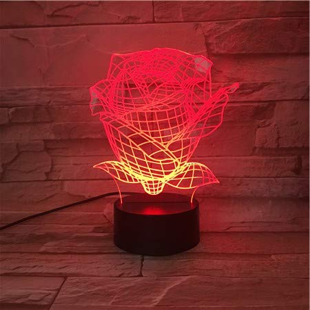 Mooie roze nachtlampje voor kinderen 3D illusie lamp 7 kleuren veranderen met afstandsbediening sfeerlicht, vakantie en verjaardagscadeau voor jongens en meisjes
