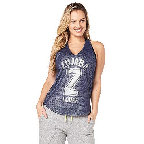 Zumba Camiseta de Entrenamiento Transpirable con Sexy Espalda Abierta para Mujer Mediano Metálica Cielo Nocturno