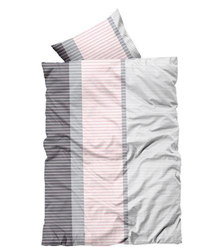 Leonado-Vicenti 4 teilig Bettwäsche 135x200 cm rosa grau gestreift Microfaser 2 Garnituren Set