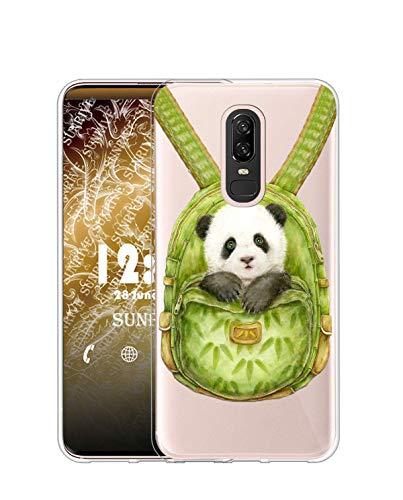 Sunrive Cover per Meizu M6T, Custodia Case in Molle Trasparente Silicone Morbida Flessibile AntiGraffio Protettiva Back custodie(TPU Zaino Panda)